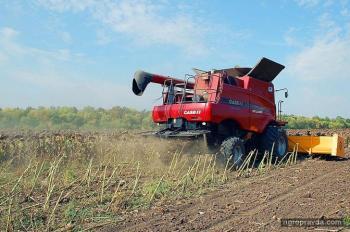 Испытания жаток для подсолнечника на реальном поле