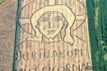 Фермер на своем поле рисует портреты политиков. Фото