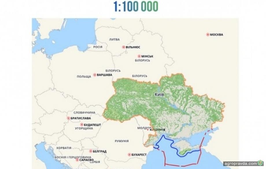 Госгеокадастр открыл доступ к цифровой карте 1:100 000